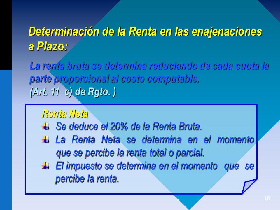 Determinación de la Renta en las enajenaciones a Plazo: