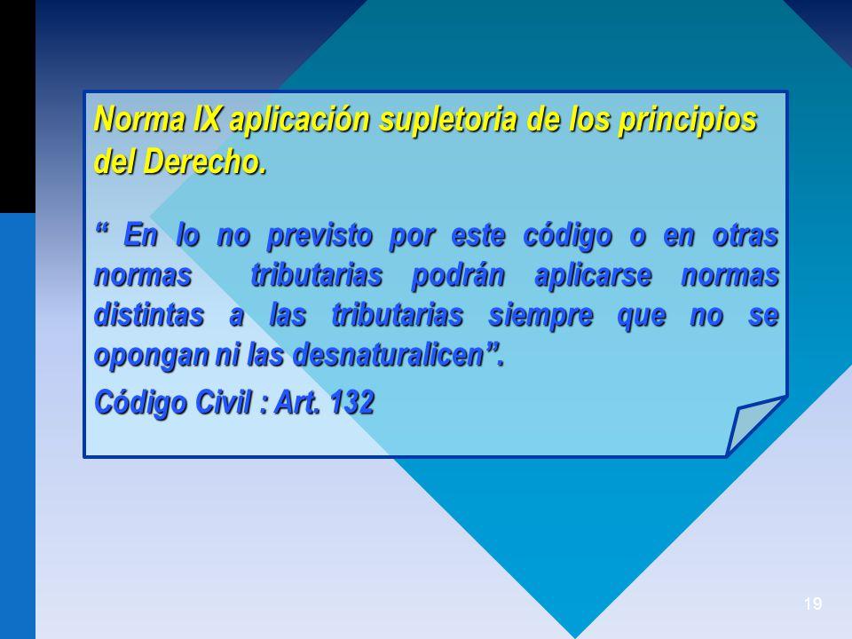 Norma IX aplicación supletoria de los principios del Derecho.