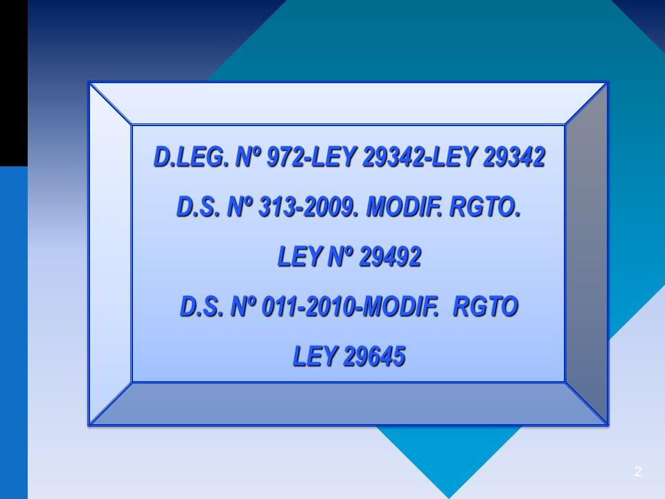 D.LEG. Nº 972-LEY 29342-LEY 29342 D.S. Nº 313-2009. MODIF. RGTO. LEY Nº 29492. D.S. Nº 011-2010-MODIF. RGTO.