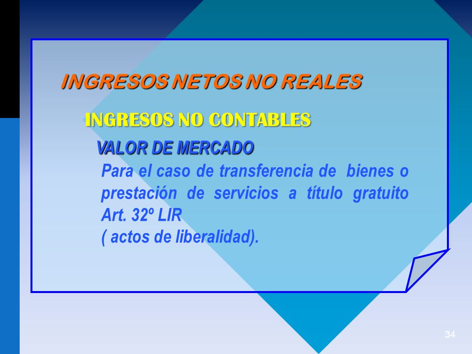INGRESOS NO CONTABLES VALOR DE MERCADO INGRESOS NETOS NO REALES
