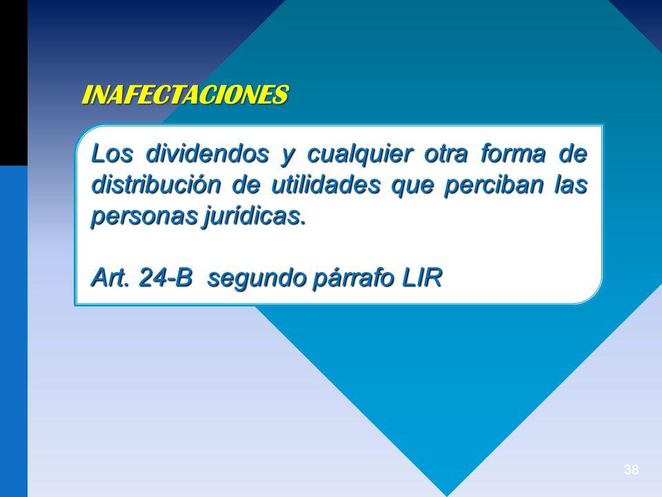 INAFECTACIONES Los dividendos y cualquier otra forma de distribución de utilidades que perciban las personas jurídicas.