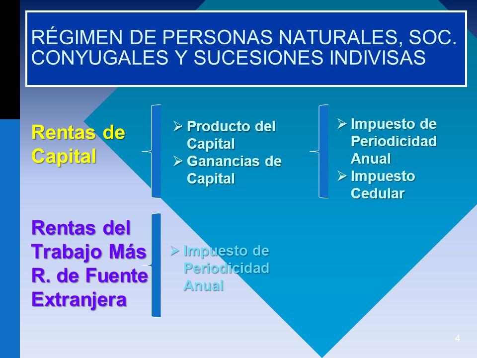 RÉGIMEN DE PERSONAS NATURALES, SOC. CONYUGALES Y SUCESIONES INDIVISAS