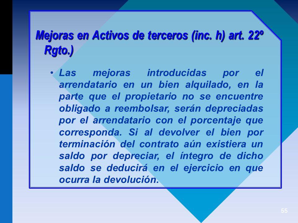 Mejoras en Activos de terceros (inc. h) art. 22º Rgto.)