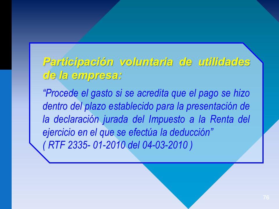 Participación voluntaria de utilidades de la empresa: