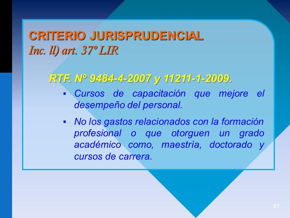 CRITERIO JURISPRUDENCIAL Inc. ll) art. 37º LIR