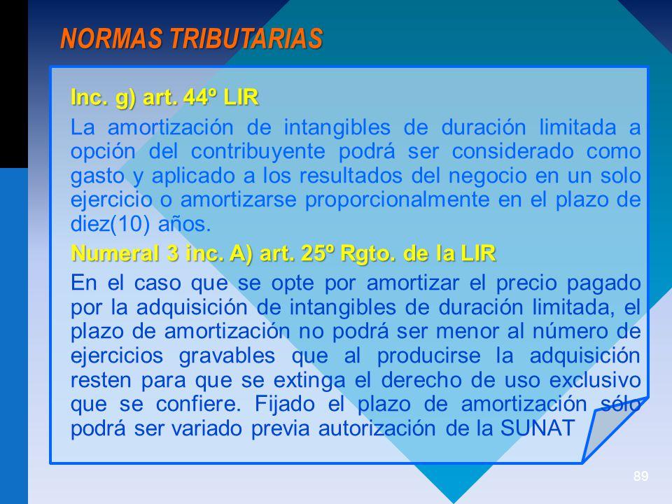 NORMAS TRIBUTARIAS Inc. g) art. 44º LIR