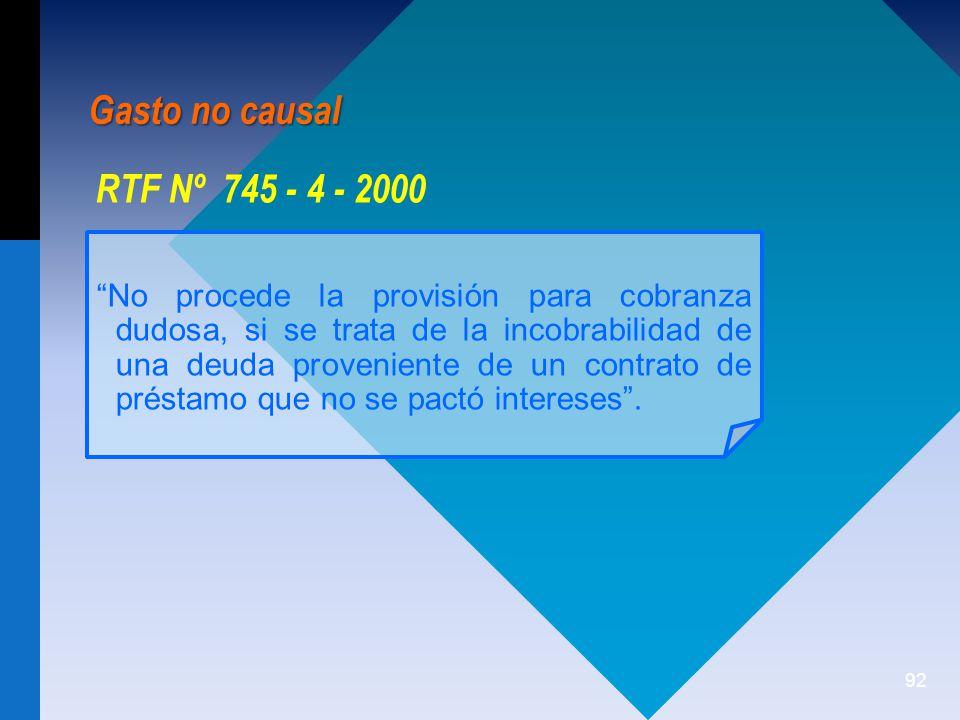 Gasto no causal RTF Nº 745 - 4 - 2000