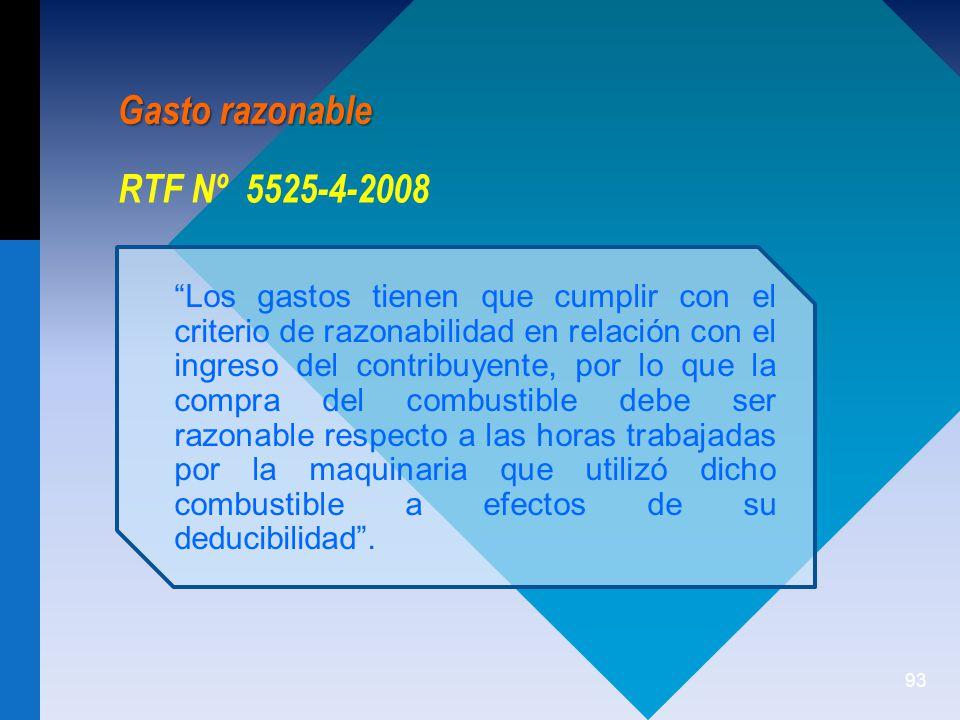 Gasto razonable RTF Nº 5525-4-2008
