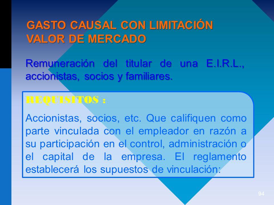 GASTO CAUSAL CON LIMITACIÓN VALOR DE MERCADO
