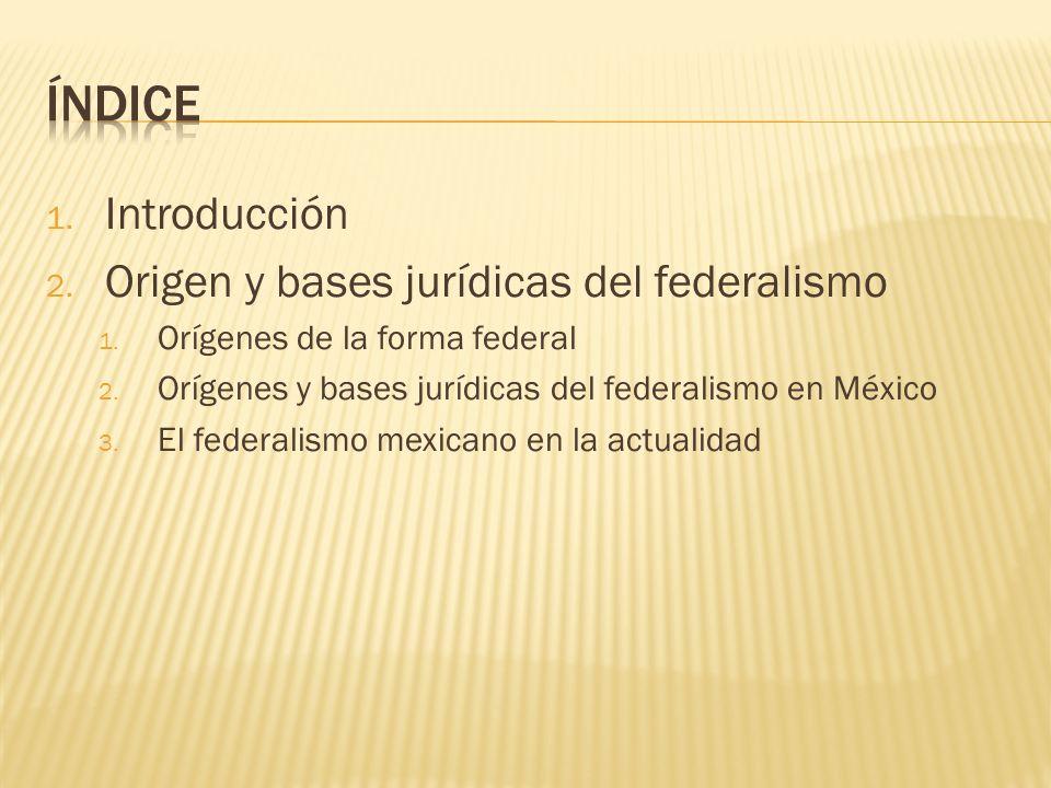 ÍNDICE Introducción Origen y bases jurídicas del federalismo