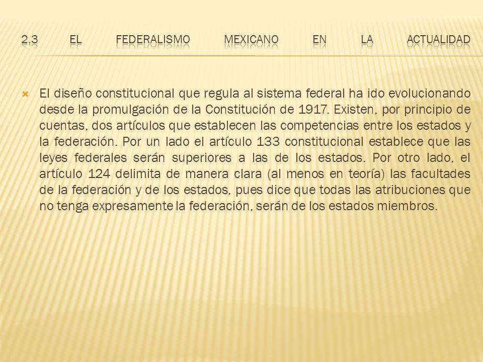 2.3 El federalismo mexicano en la actualidad