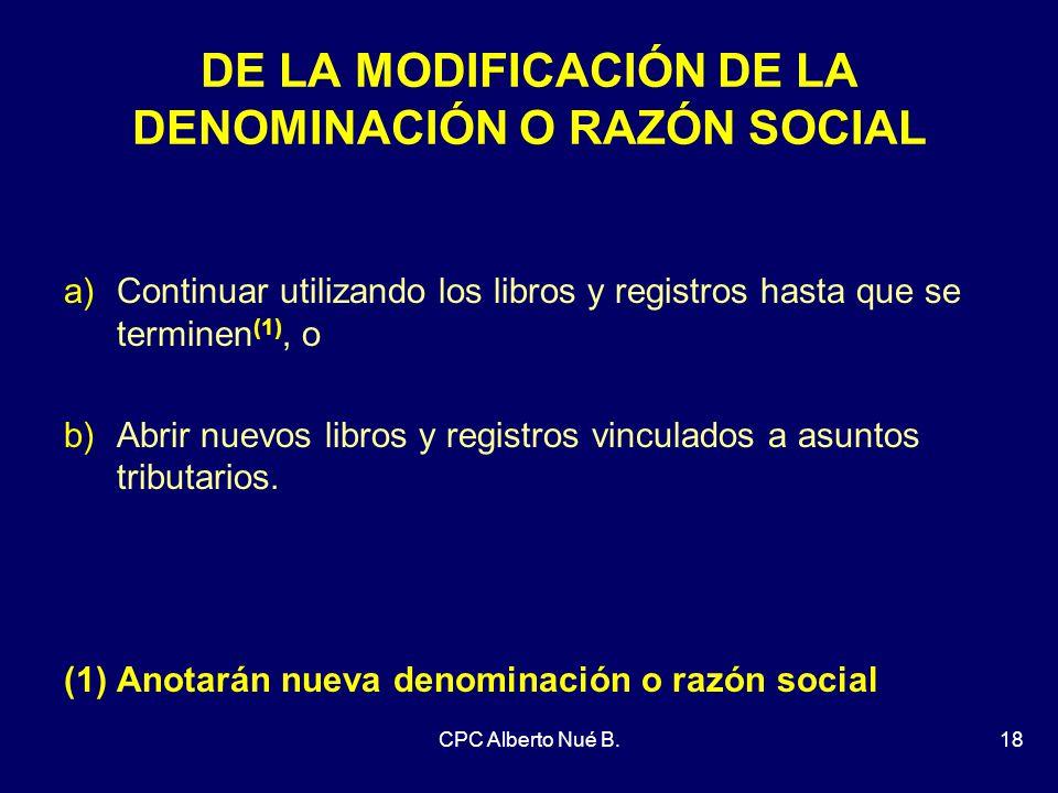 DE LA MODIFICACIÓN DE LA DENOMINACIÓN O RAZÓN SOCIAL