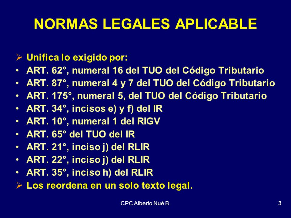 NORMAS LEGALES APLICABLE