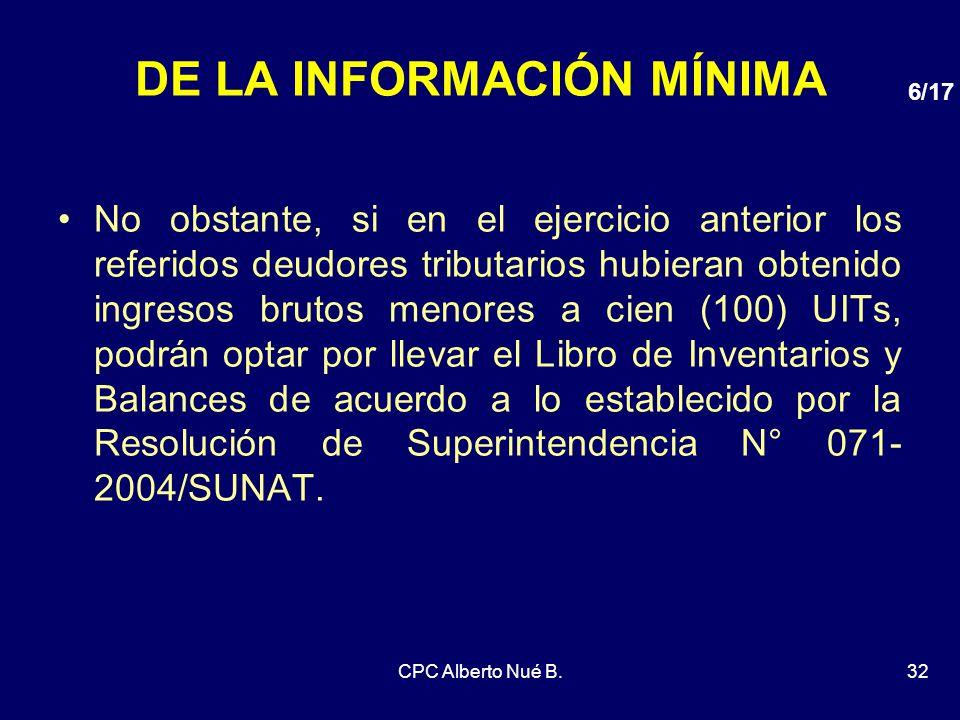 DE LA INFORMACIÓN MÍNIMA