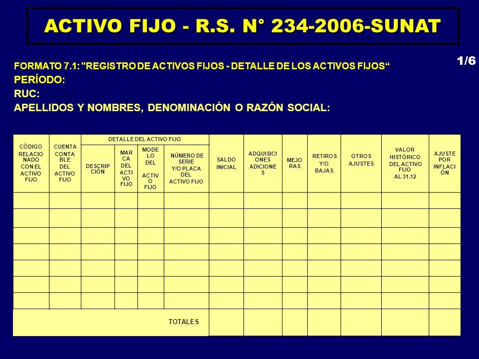ACTIVO FIJO - R.S. N° 234-2006-SUNAT DETALLE DEL ACTIVO FIJO