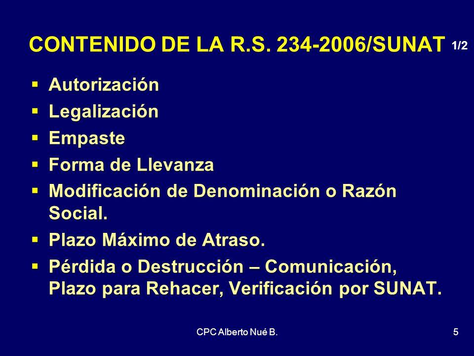 CONTENIDO DE LA R.S. 234-2006/SUNAT