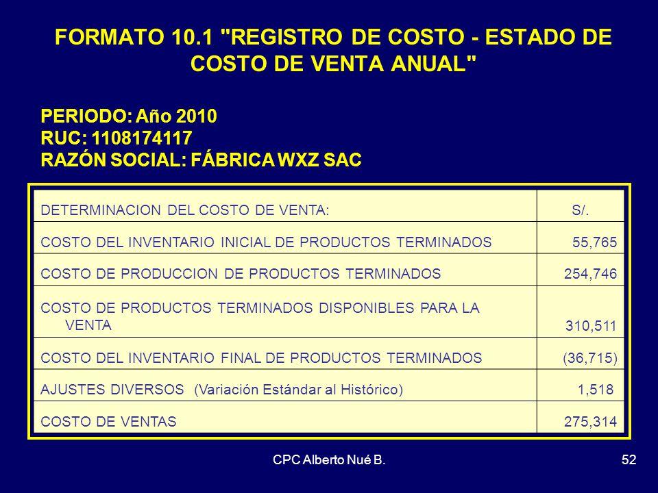 FORMATO 10.1 REGISTRO DE COSTO - ESTADO DE COSTO DE VENTA ANUAL