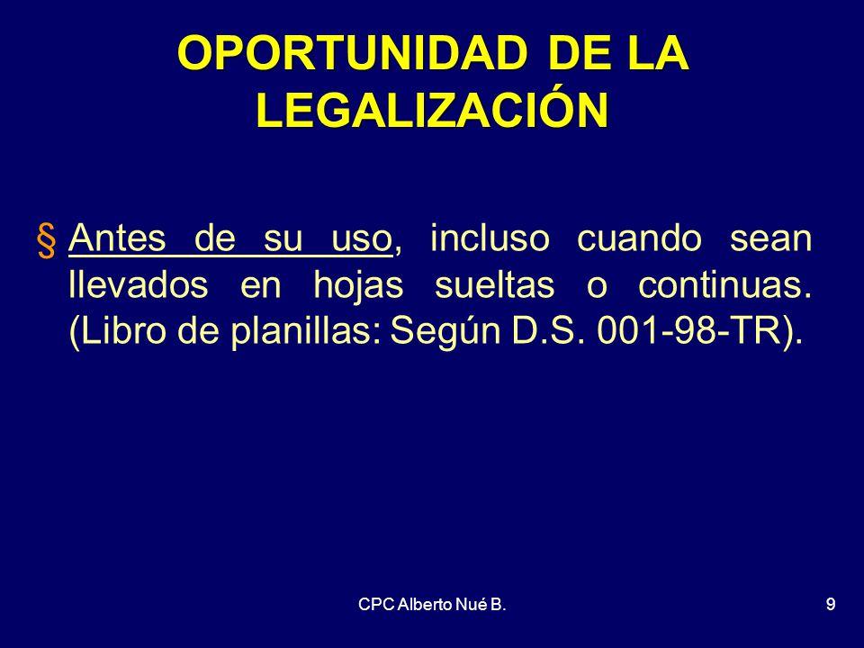 OPORTUNIDAD DE LA LEGALIZACIÓN