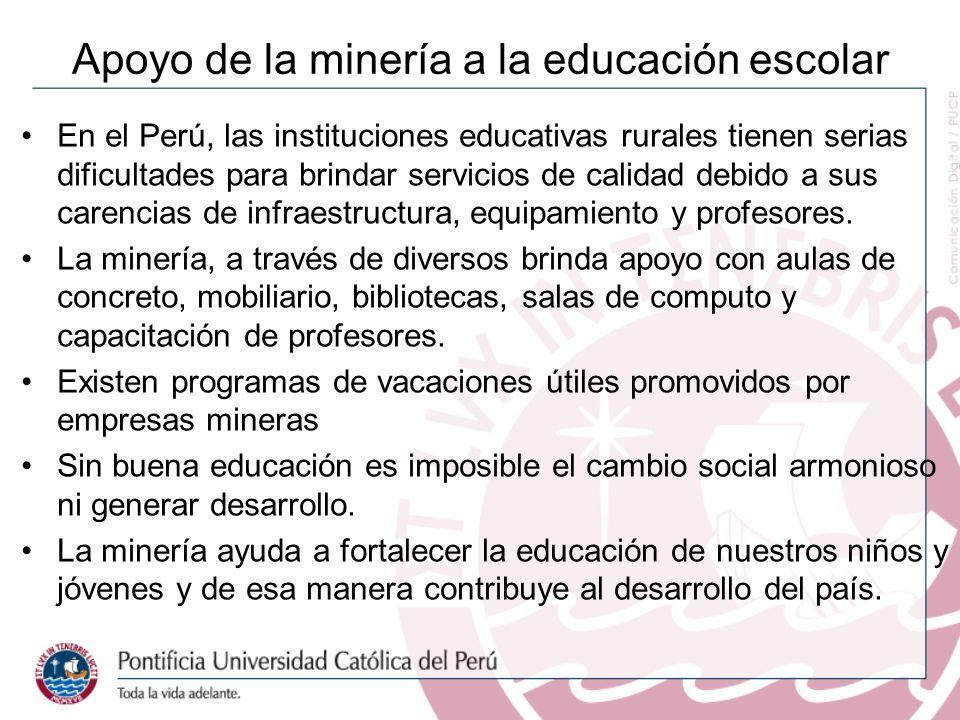 Apoyo de la minería a la educación escolar