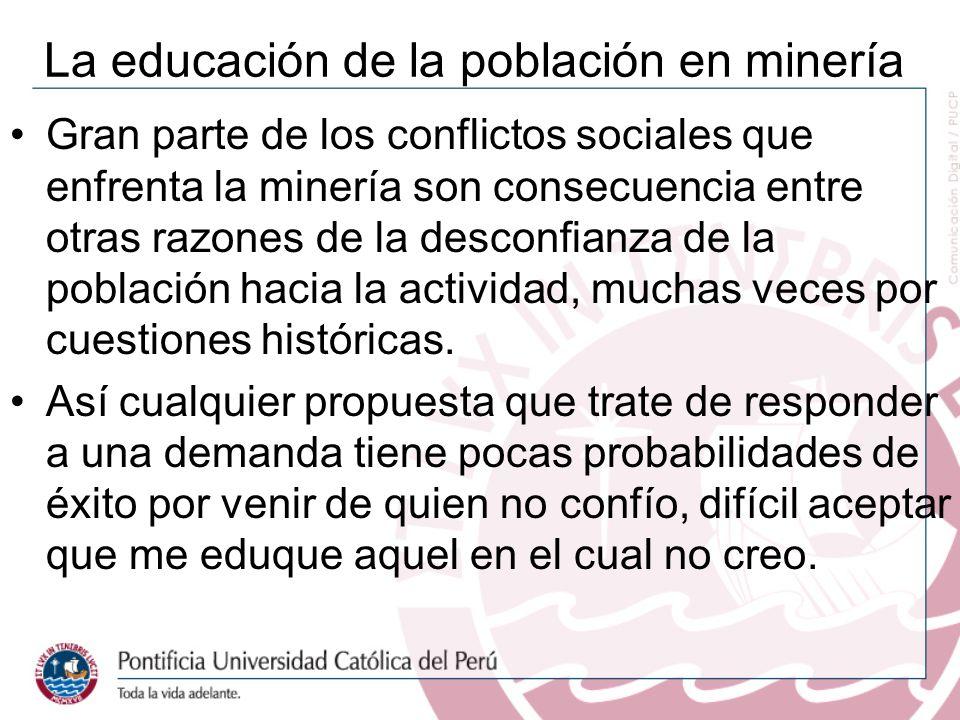 La educación de la población en minería