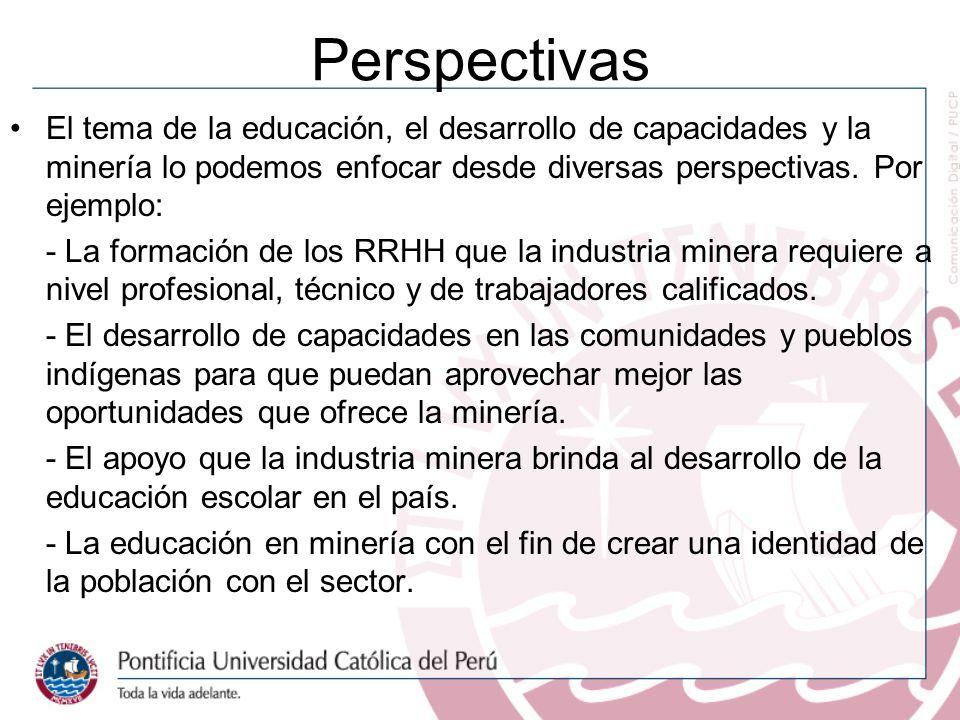 Perspectivas El tema de la educación, el desarrollo de capacidades y la minería lo podemos enfocar desde diversas perspectivas. Por ejemplo: