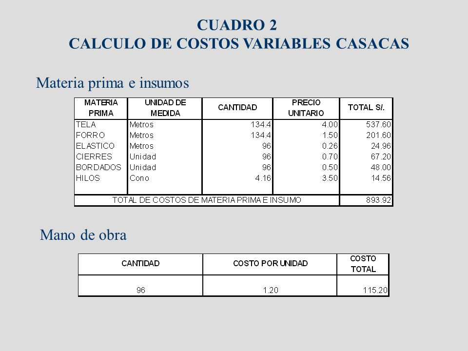 CALCULO DE COSTOS VARIABLES CASACAS
