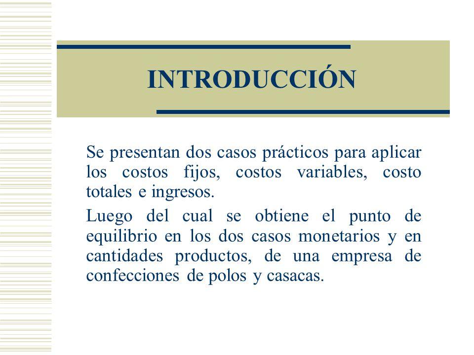 INTRODUCCIÓN Se presentan dos casos prácticos para aplicar los costos fijos, costos variables, costo totales e ingresos.
