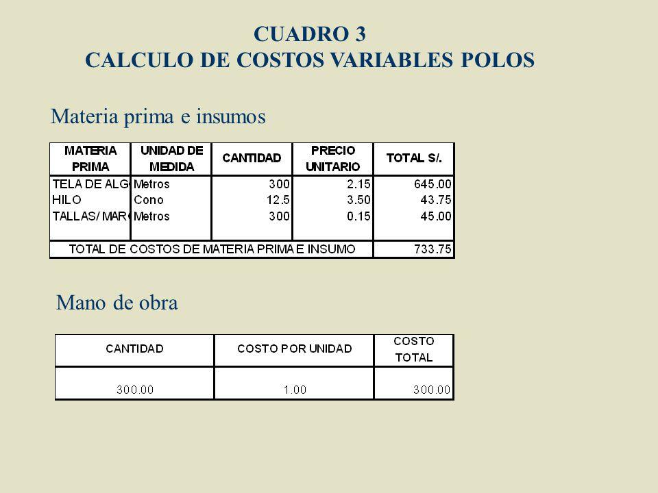 CALCULO DE COSTOS VARIABLES POLOS