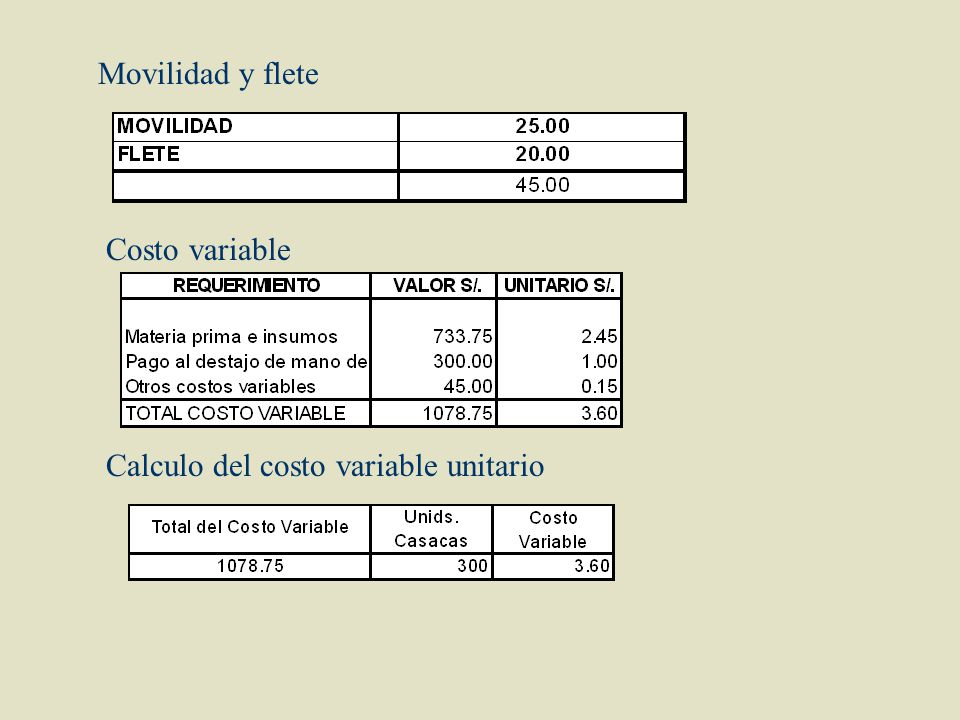 Movilidad y flete Costo variable Calculo del costo variable unitario