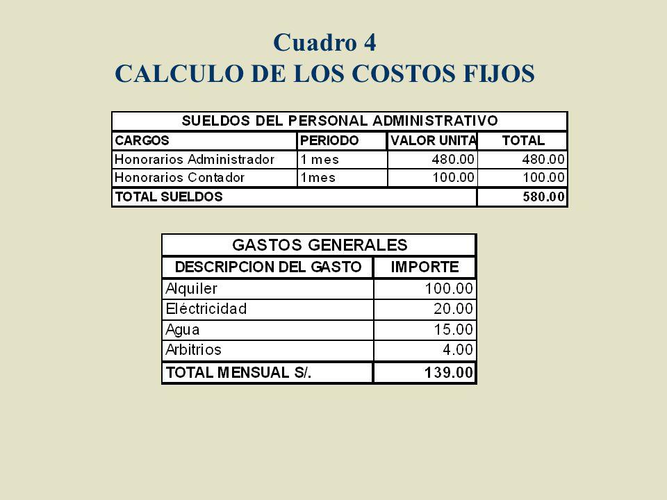 CALCULO DE LOS COSTOS FIJOS