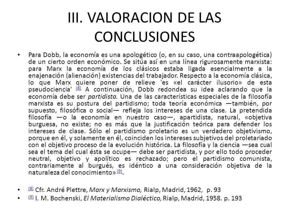 III. VALORACION DE LAS CONCLUSIONES