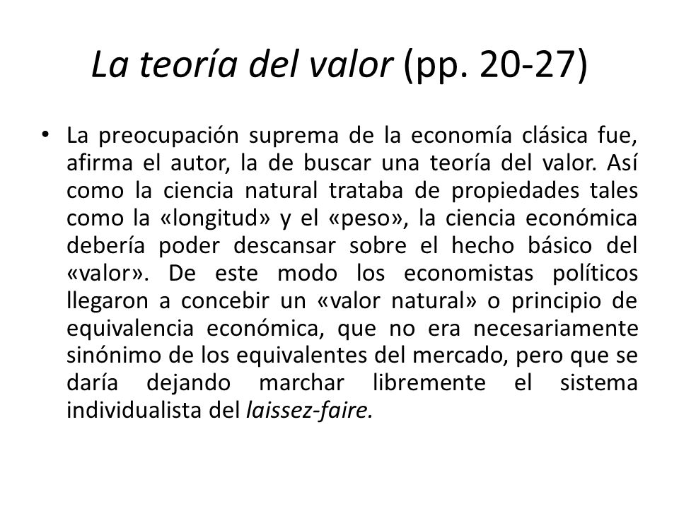 La teoría del valor (pp. 20-27)