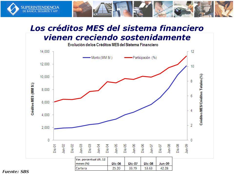 Los créditos MES del sistema financiero vienen creciendo sostenidamente