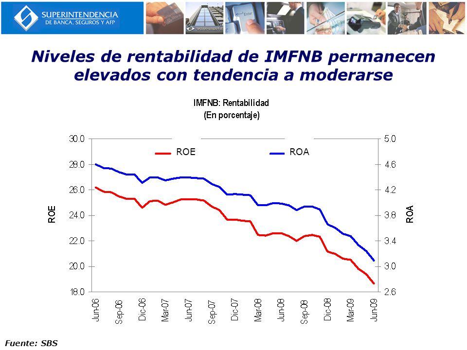 Niveles de rentabilidad de IMFNB permanecen elevados con tendencia a moderarse
