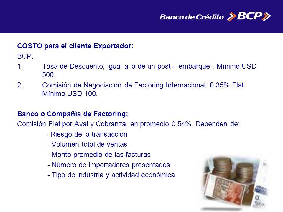 COSTO para el cliente Exportador: