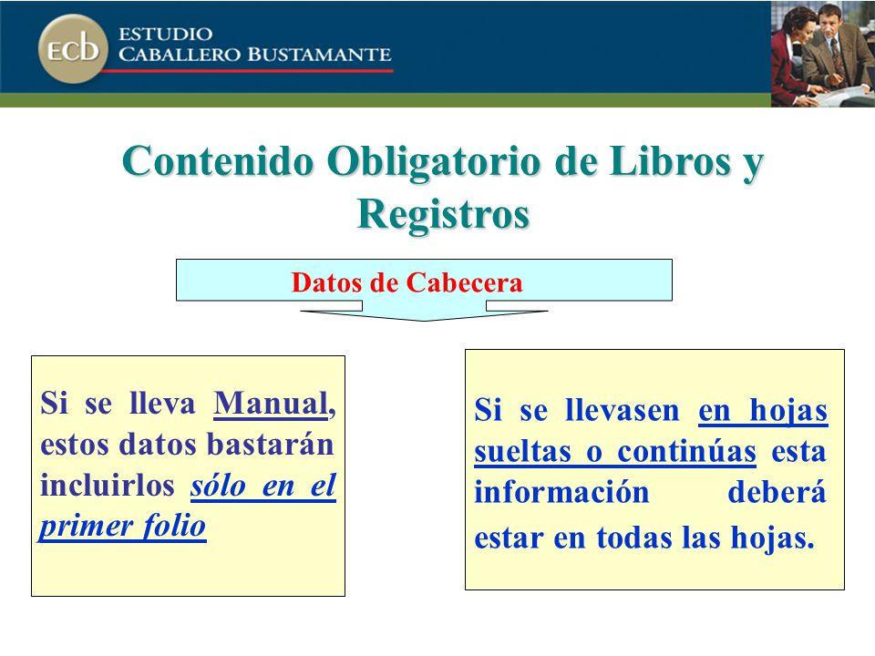 Contenido Obligatorio de Libros y Registros