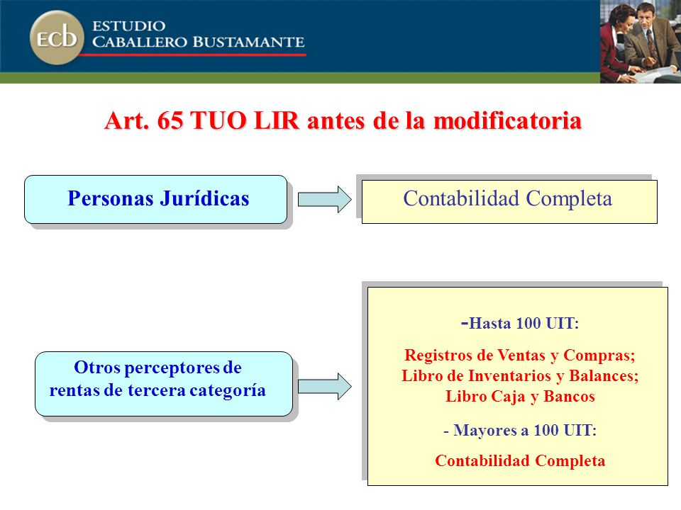 Art. 65 TUO LIR antes de la modificatoria