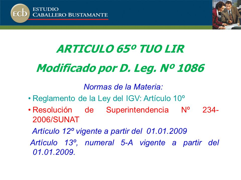 ARTICULO 65º TUO LIR Modificado por D. Leg. Nº 1086