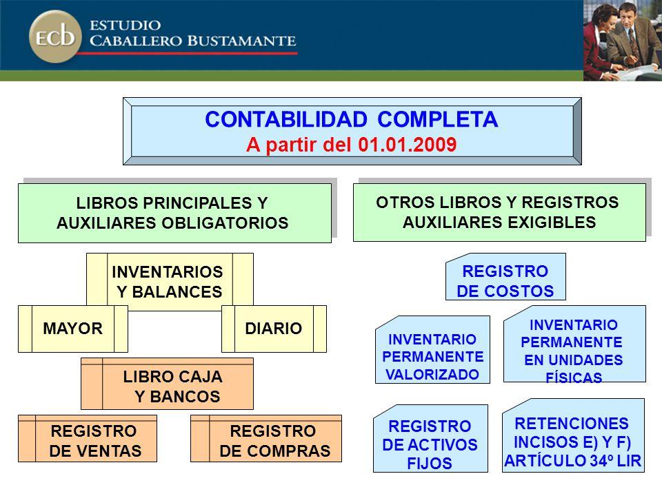 CONTABILIDAD COMPLETA AUXILIARES OBLIGATORIOS OTROS LIBROS Y REGISTROS