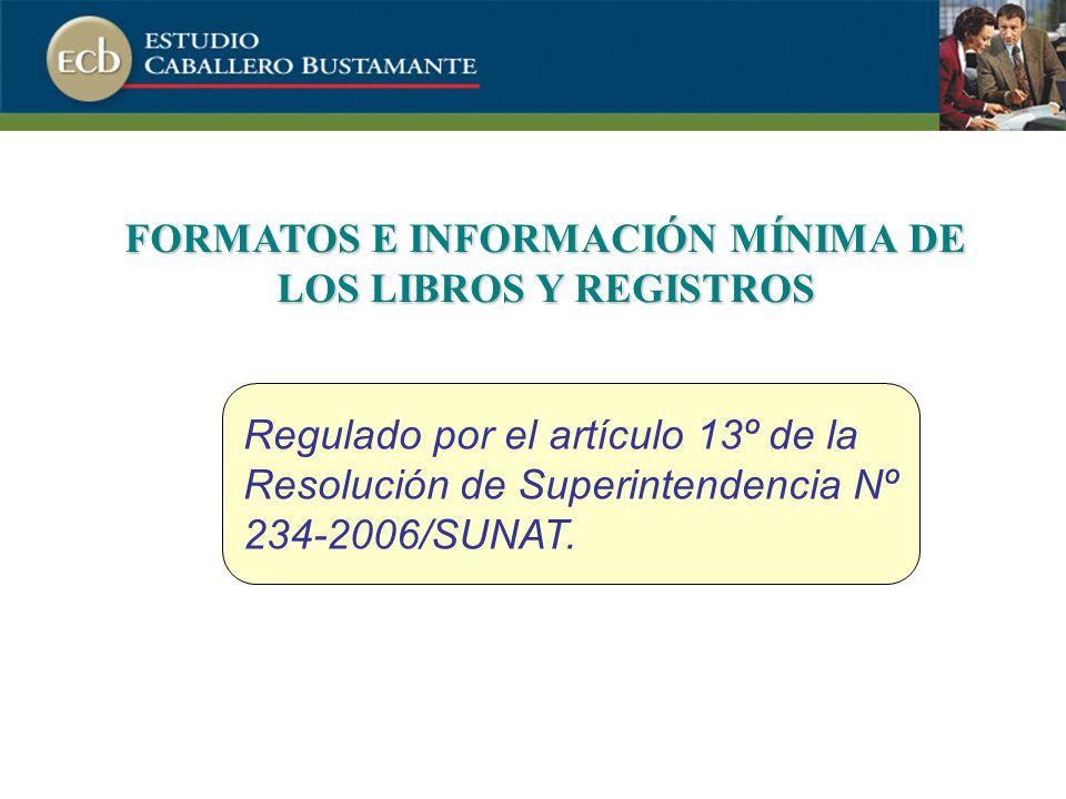 FORMATOS E INFORMACIÓN MÍNIMA DE LOS LIBROS Y REGISTROS