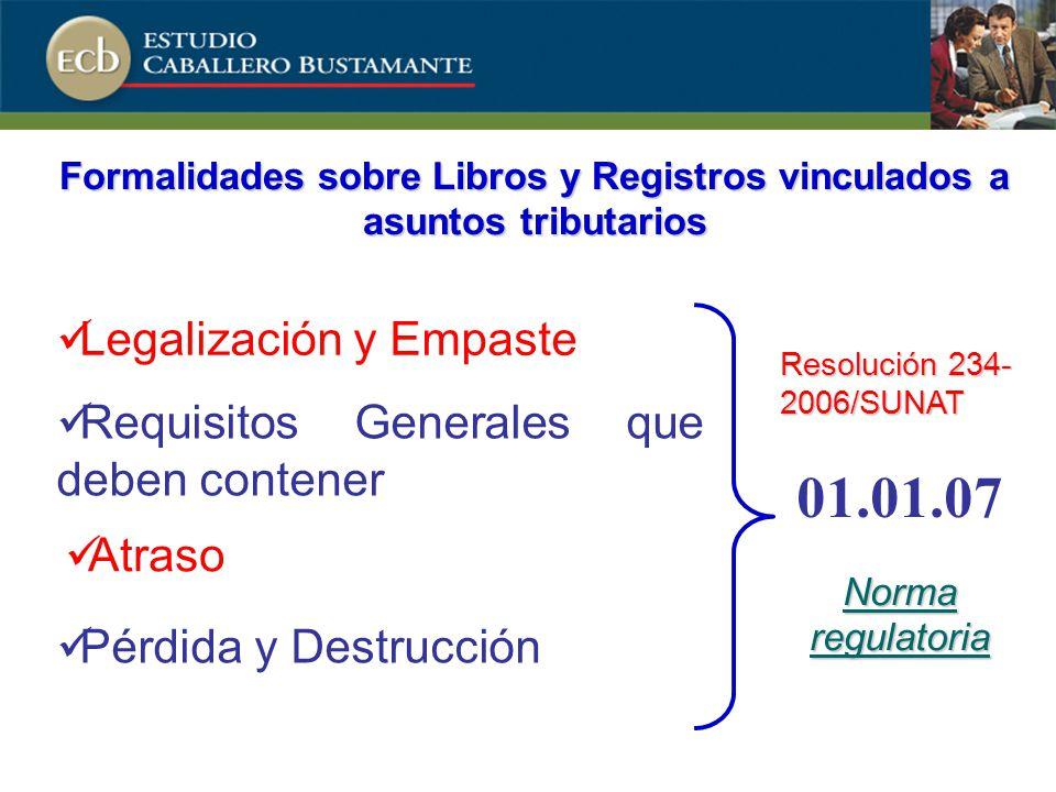 Formalidades sobre Libros y Registros vinculados a asuntos tributarios