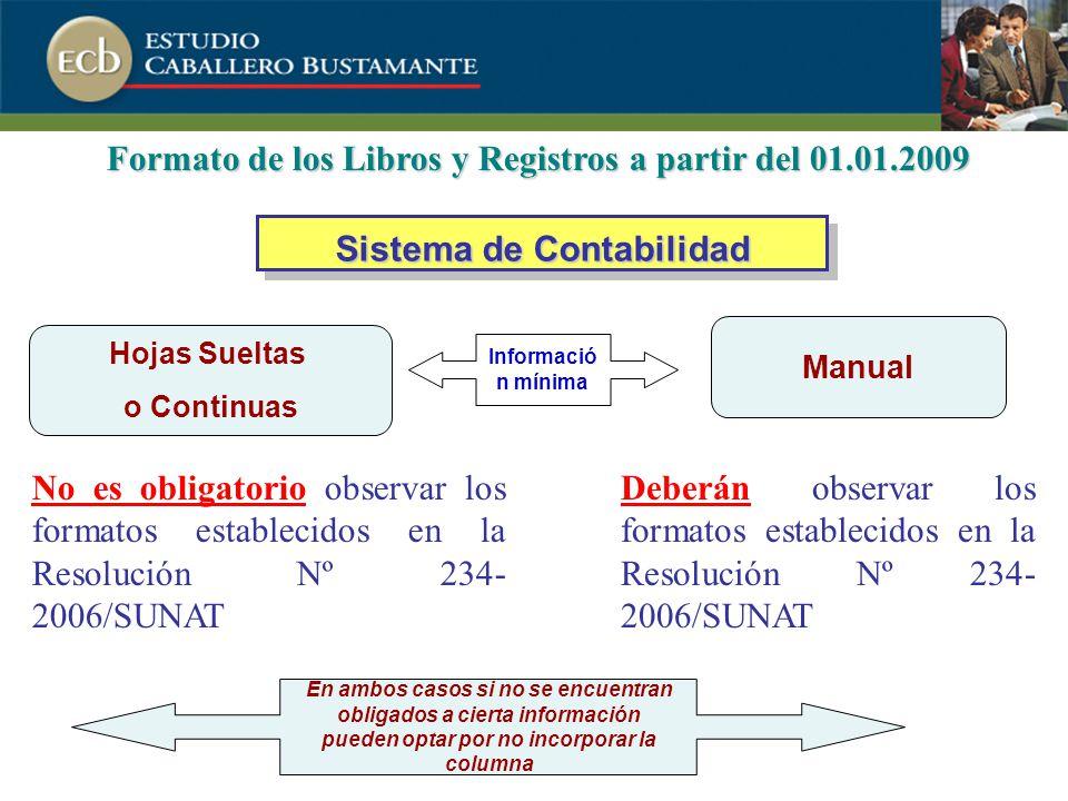Formato de los Libros y Registros a partir del 01.01.2009
