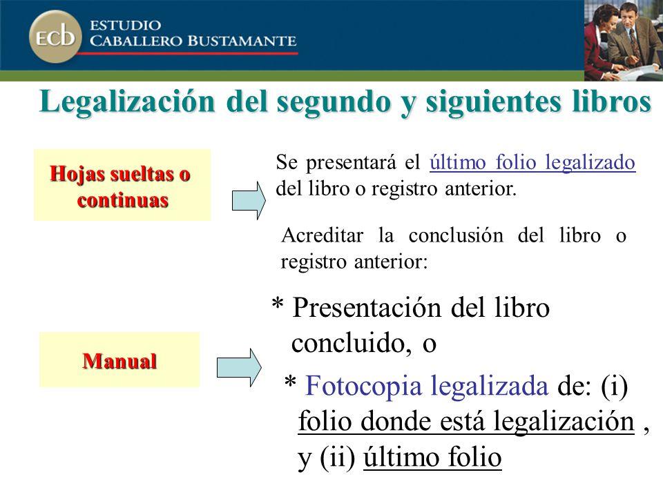 Legalización del segundo y siguientes libros