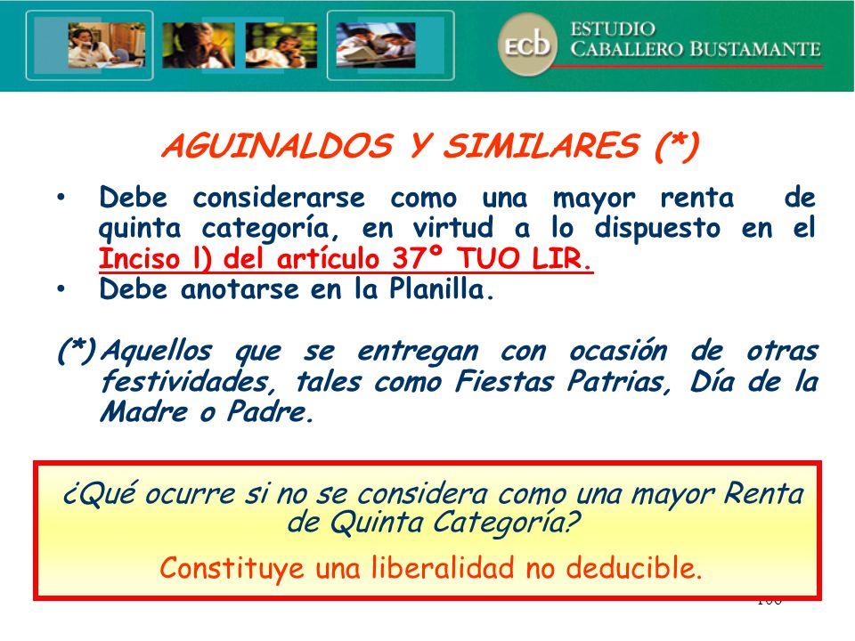AGUINALDOS Y SIMILARES (*)