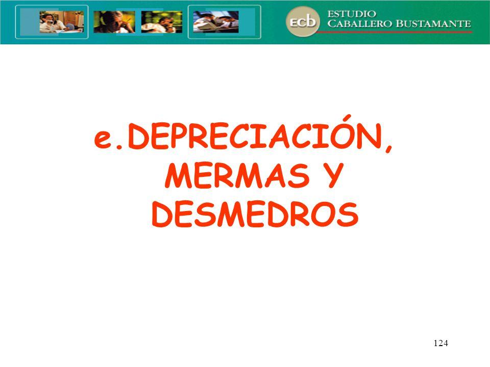 e.DEPRECIACIÓN, MERMAS Y DESMEDROS