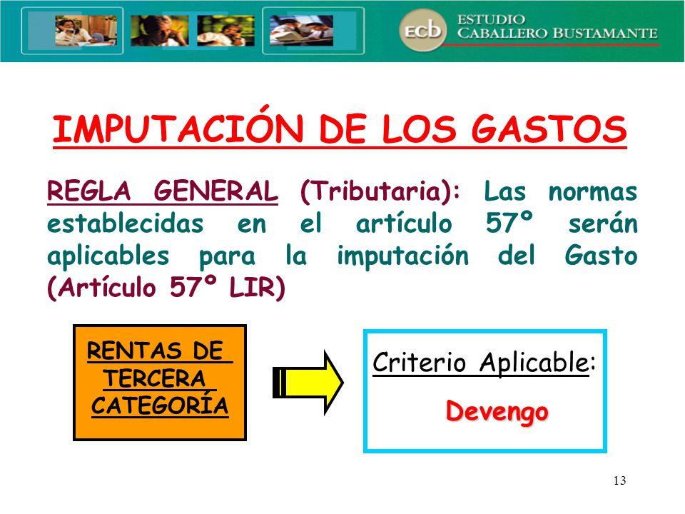 IMPUTACIÓN DE LOS GASTOS