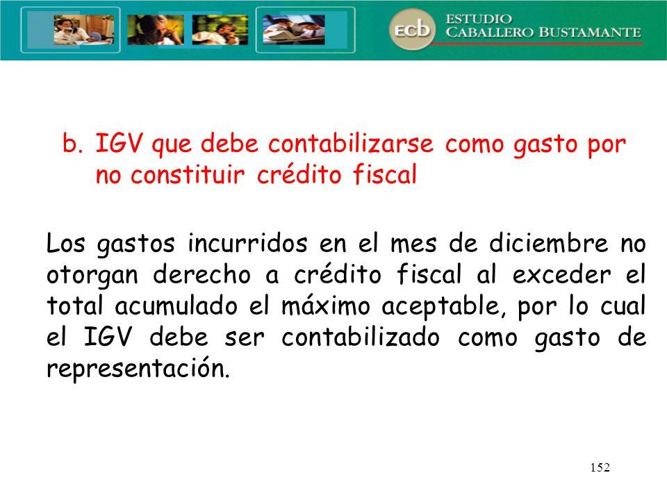 IGV que debe contabilizarse como gasto por no constituir crédito fiscal
