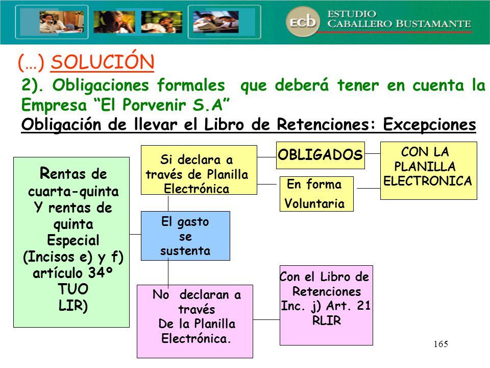 (…) SOLUCIÓN 2). Obligaciones formales que deberá tener en cuenta la Empresa El Porvenir S.A