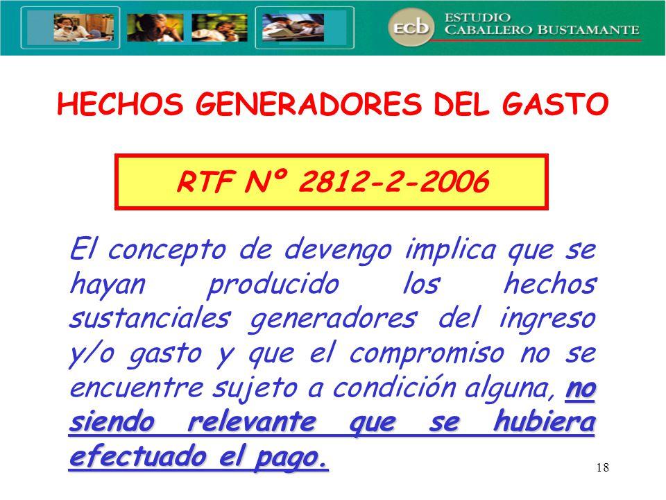 HECHOS GENERADORES DEL GASTO