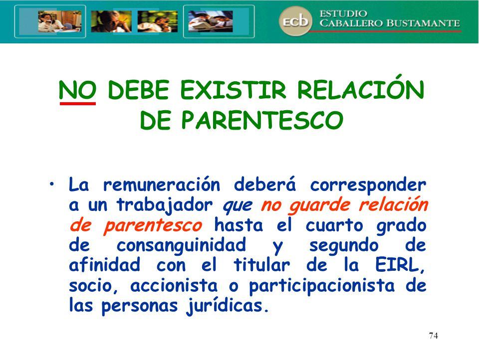 NO DEBE EXISTIR RELACIÓN DE PARENTESCO